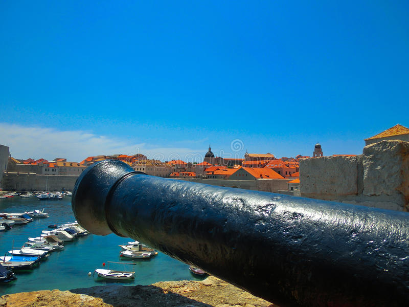 在堡垒Lovrijenac或圣劳伦斯堡垒的老教规在杜布罗夫尼克,克罗地亚 库存照片