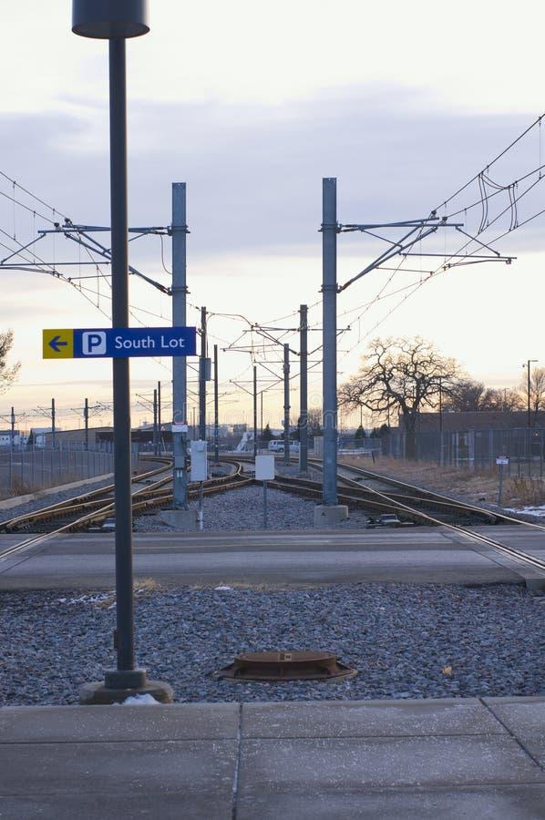 在堡垒Snelling驻地的轻的铁路轨道 免版税库存图片
