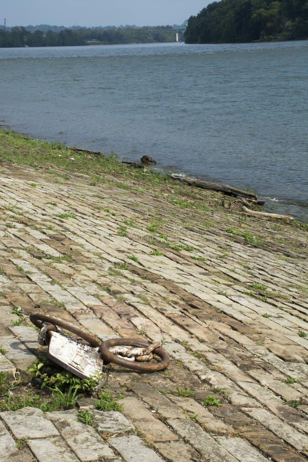在堤坝的相接链子 免版税图库摄影