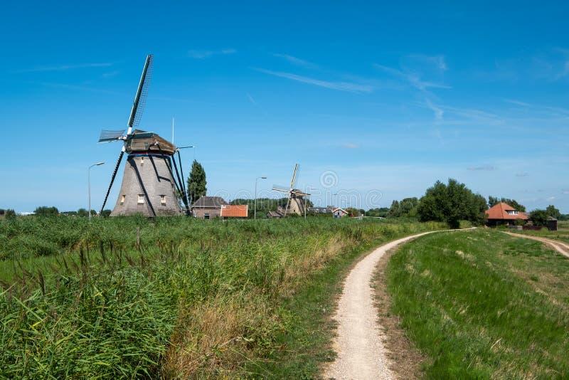 在堤的两台风车沿在Maasland附近的开拓地, Neth 免版税库存图片