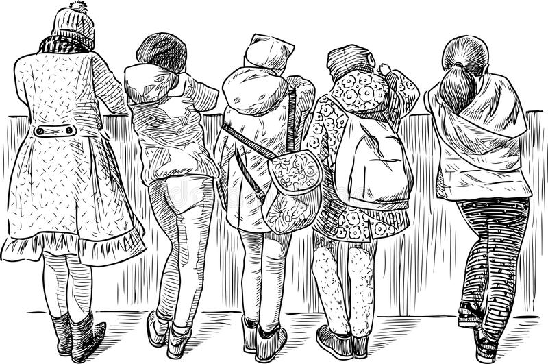 在堤防停止的小女小学生 库存例证