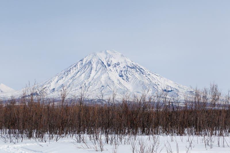 在堪察加半岛在多云天,俄罗斯的雪山 库存照片