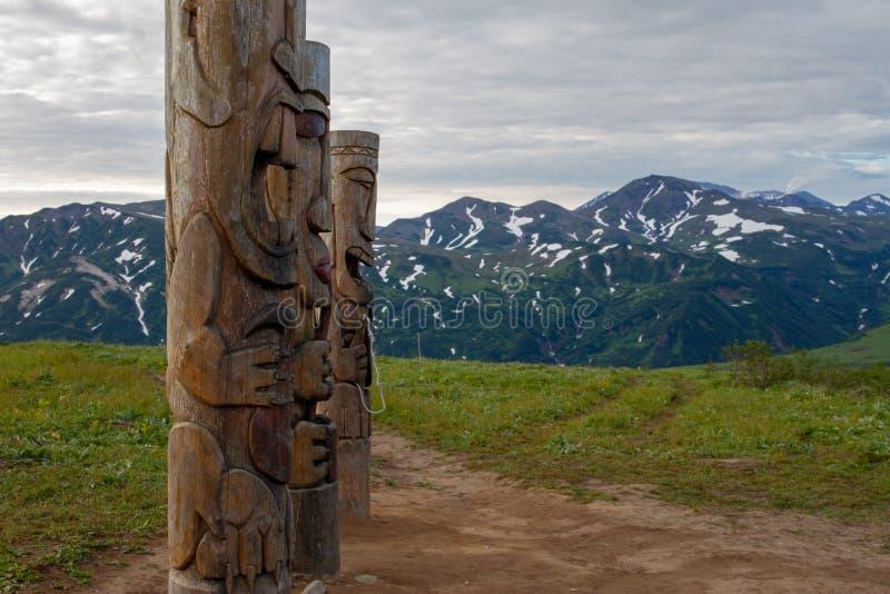 在堪察加半岛的木神象  免版税库存照片