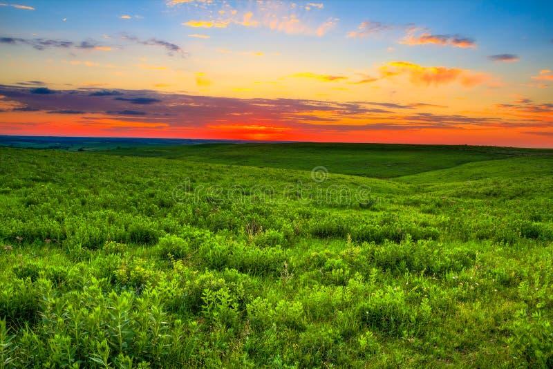 在堪萨斯火石小山的日落 库存照片