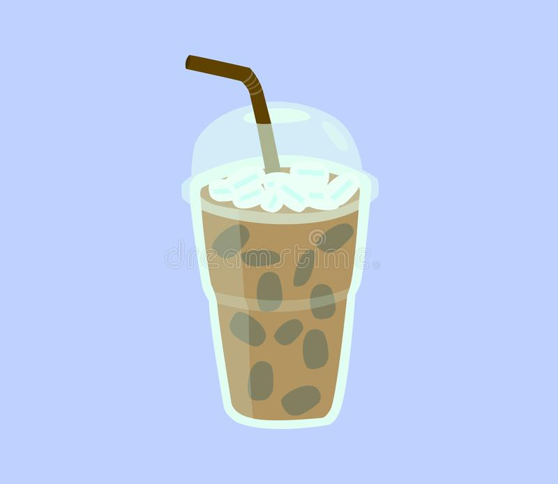 在塑料杯子的新鲜的咖啡有在蓝色背景和管的隔绝的盖子 库存例证