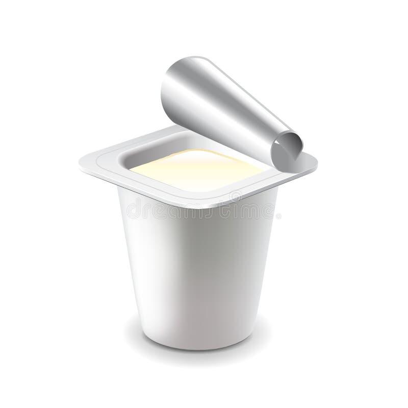 在塑料杯子的酸奶在白色传染媒介 向量例证
