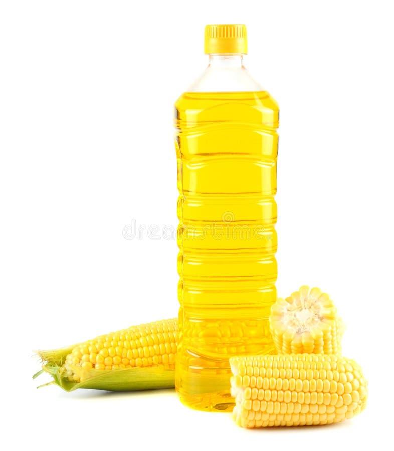 在塑料瓶的玉米油用在白色背景隔绝的玉米棒的玉米 免版税库存图片