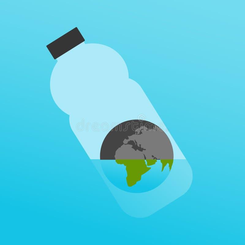 在塑料瓶的行星地球用一点水作为全球性生态问题的一个标志:缺乏质量水 库存例证