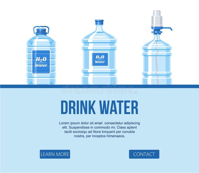 在塑料瓶集合的饮料水在白色背景网站设计横幅传染媒介例证 健康阿瓜瓶 皇族释放例证
