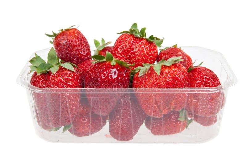 在塑料盒的新鲜的草莓,被隔绝 图库摄影