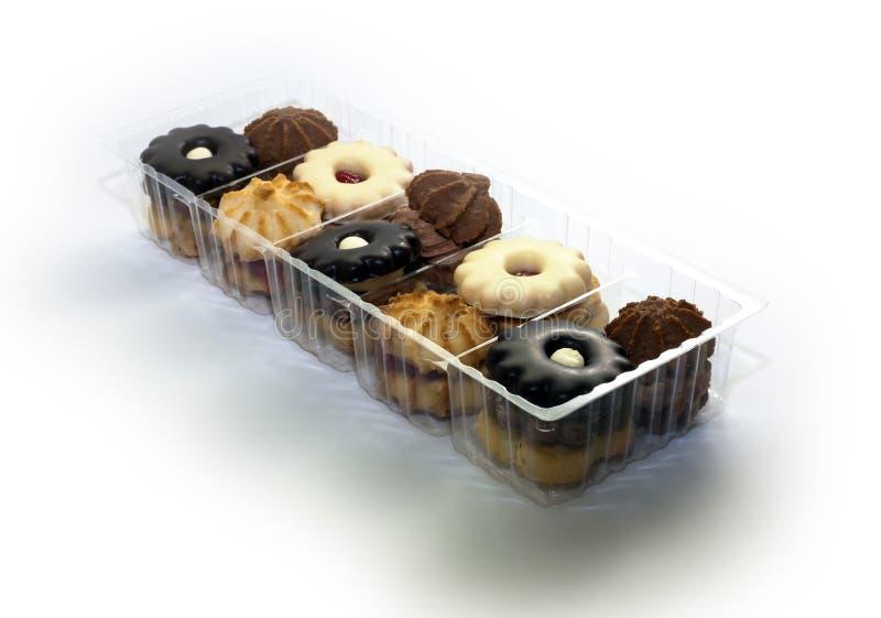 在塑料盒的曲奇饼 免版税库存图片