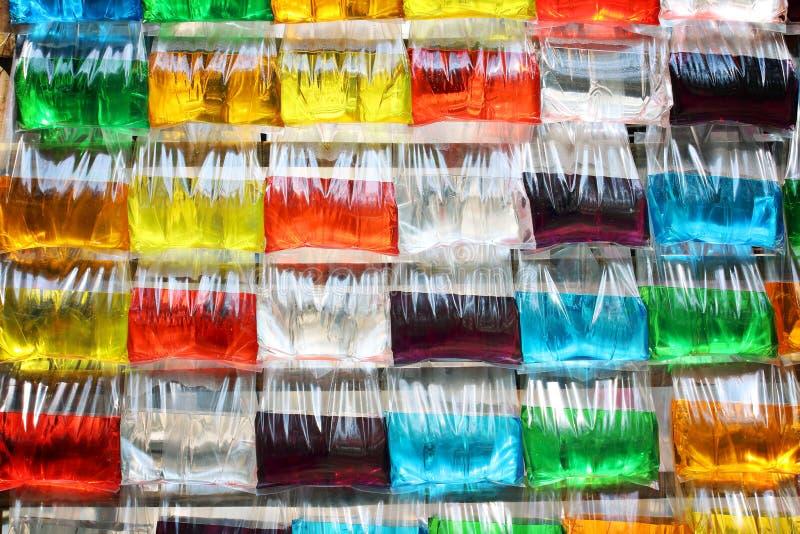 在塑料袋的五颜六色的水 库存照片