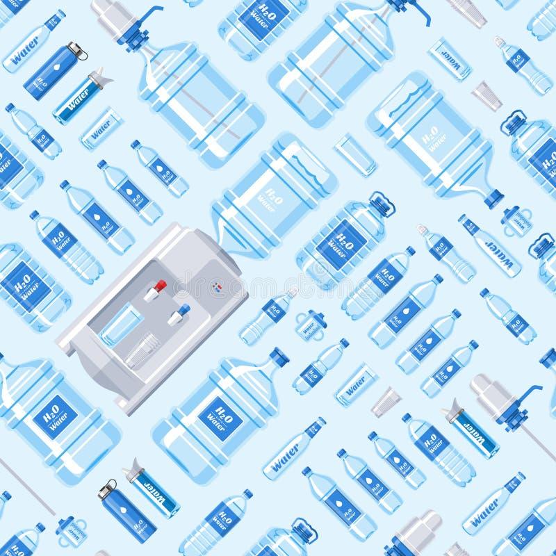 在塑胶容器例证套装瓶的水瓶传染媒介水饮料液体水色瓶装水致冷机 库存例证