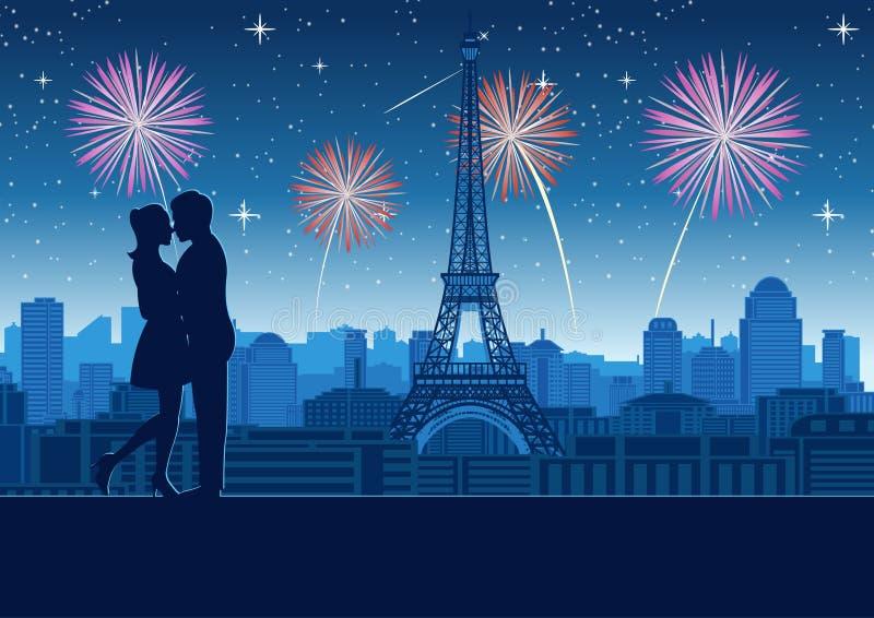 在塔屋顶上面附近一起结合拥抱与摩天大楼在埃菲尔铁塔附近在巴黎,剪影样式 库存例证