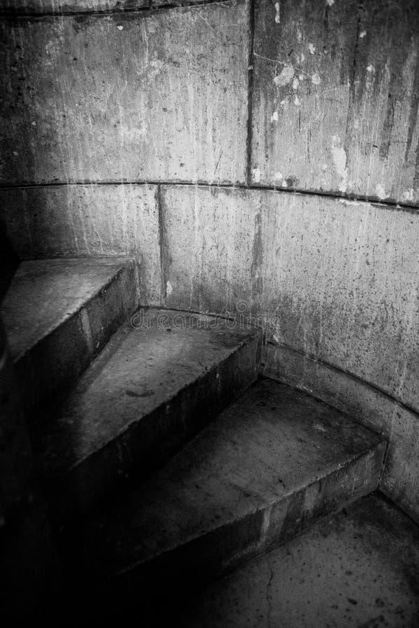 在塔的黑暗的台阶 库存图片