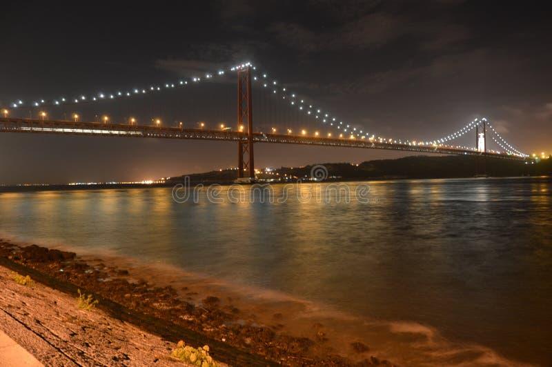 在塔霍河的桥梁在晚上 免版税图库摄影