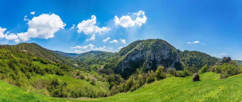 在塞尔维亚塞尔维亚人的山:在克鲁帕尼附近镇的Sokolska planina  它属于更低的山,与最高的po 免版税库存图片
