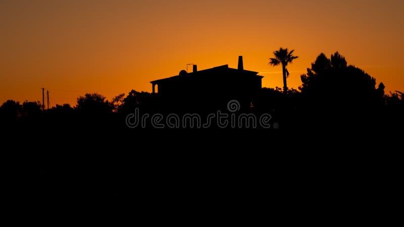 在塞拉de Monte菲戈,阿尔加威东部,葡萄牙的日落, 图库摄影