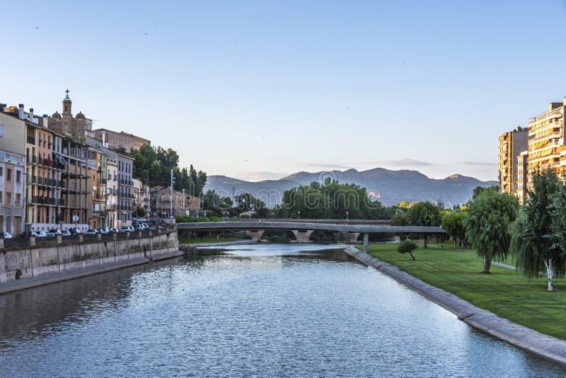 在塞格雷河河的桥梁 巴拉格尔莱里达省西班牙 库存照片