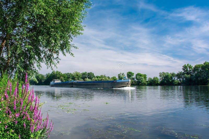 在塞纳河的驳船 库存照片
