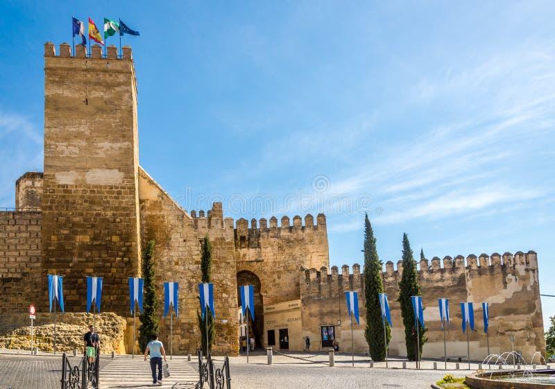 在塞维利亚门的看法在卡尔莫纳-西班牙 免版税库存照片