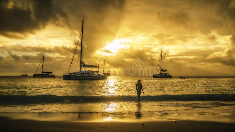 在塞舌尔群岛海滩的金黄日落 库存照片