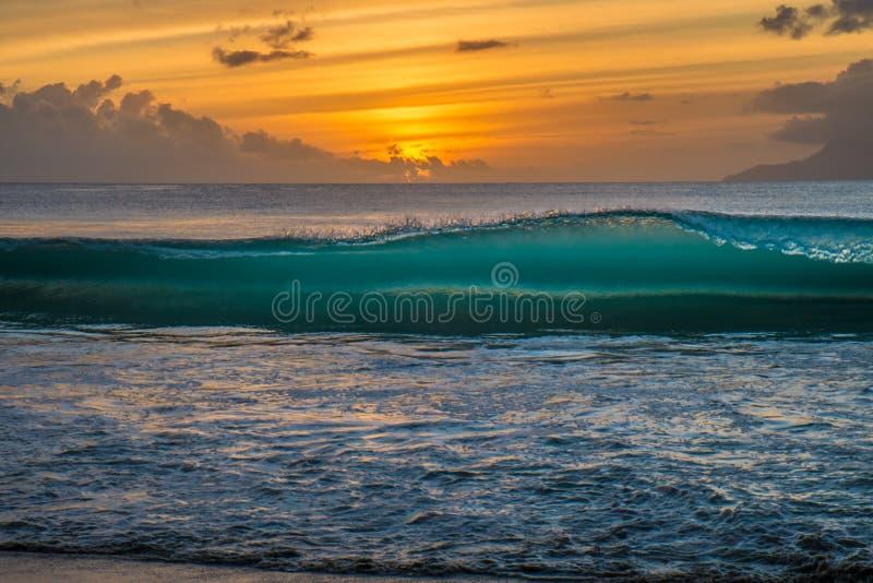 在塞舌尔群岛的日落 库存图片