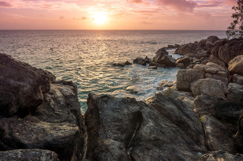 在塞舌尔群岛的日落 库存照片