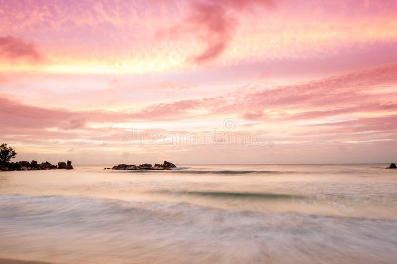 在塞舌尔群岛的日落 免版税库存照片