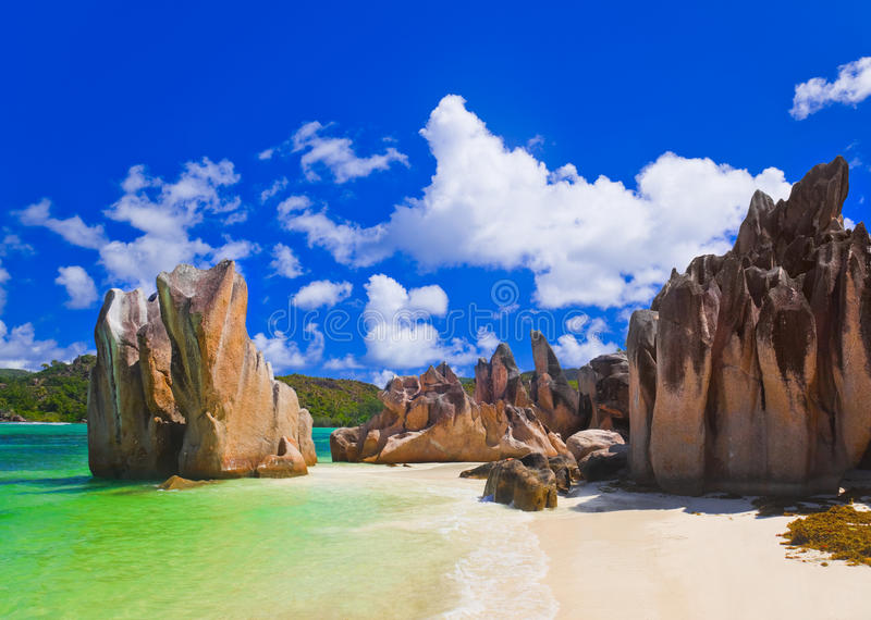 在塞舌尔群岛的热带海滩 库存图片