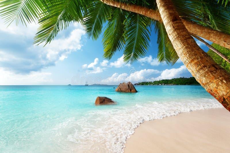 在塞舌尔群岛的Anse拉齐奥海滩 免版税库存图片