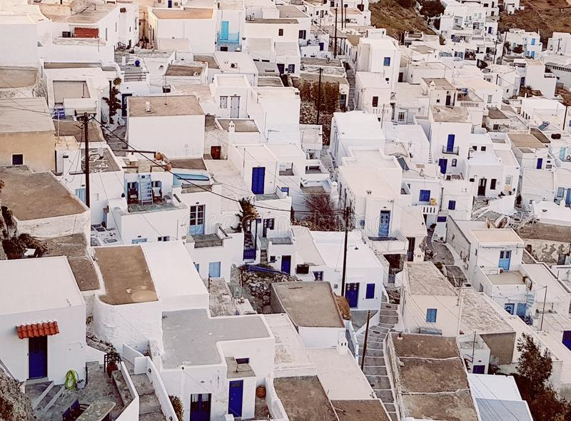 在塞里福斯岛海岛上的Chora村庄 库存照片