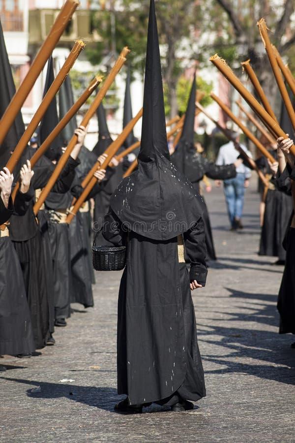 在塞维利亚基督教徒的圣周 免版税库存照片