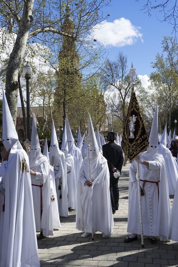 在塞维利亚基督教徒的圣周 库存照片