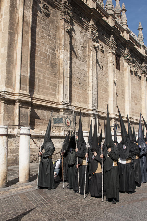 在塞维利亚基督教徒的圣周 免版税图库摄影