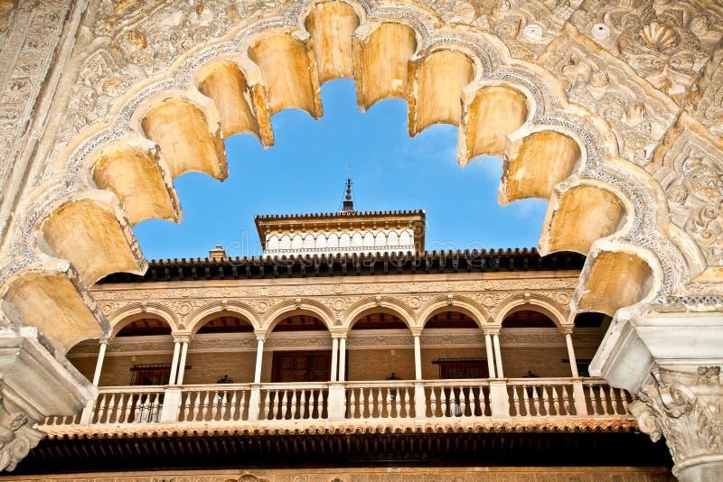 在塞维利亚,西班牙皇家城堡的装饰。 免版税图库摄影
