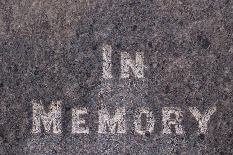 在墓碑题写的记忆里 免版税库存照片