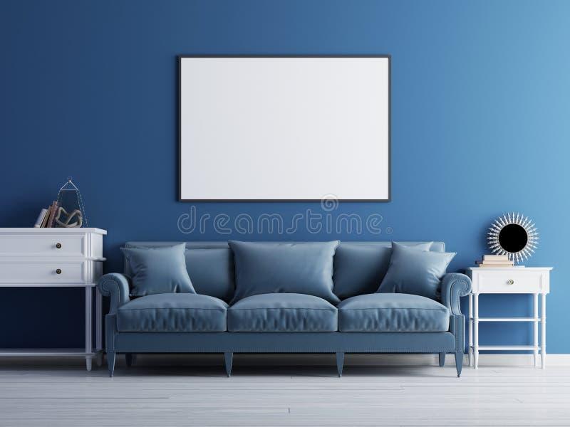 在墙壁、豪华客厅、蓝色经典沙发和墙壁上的大模型海报 向量例证