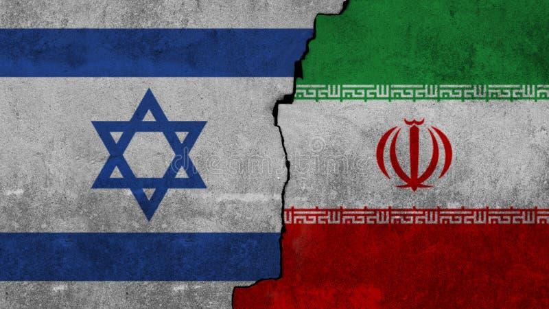 在墙壁上和伊朗的绘的旗子以色列 免版税图库摄影