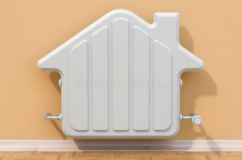 在墙壁上的加热的幅射器在形状房子里,3D翻译 皇族释放例证