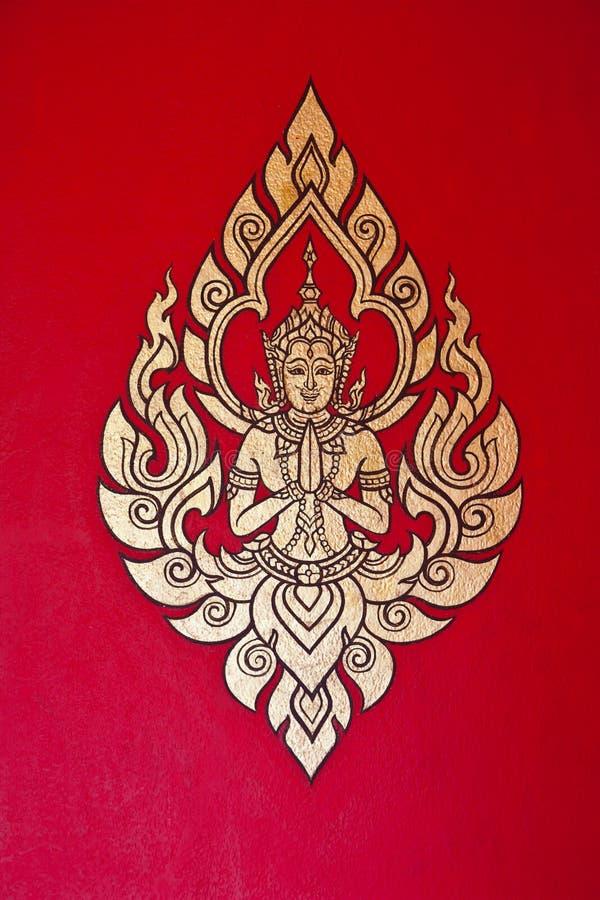 在墙壁上的壁画在templele 免版税图库摄影