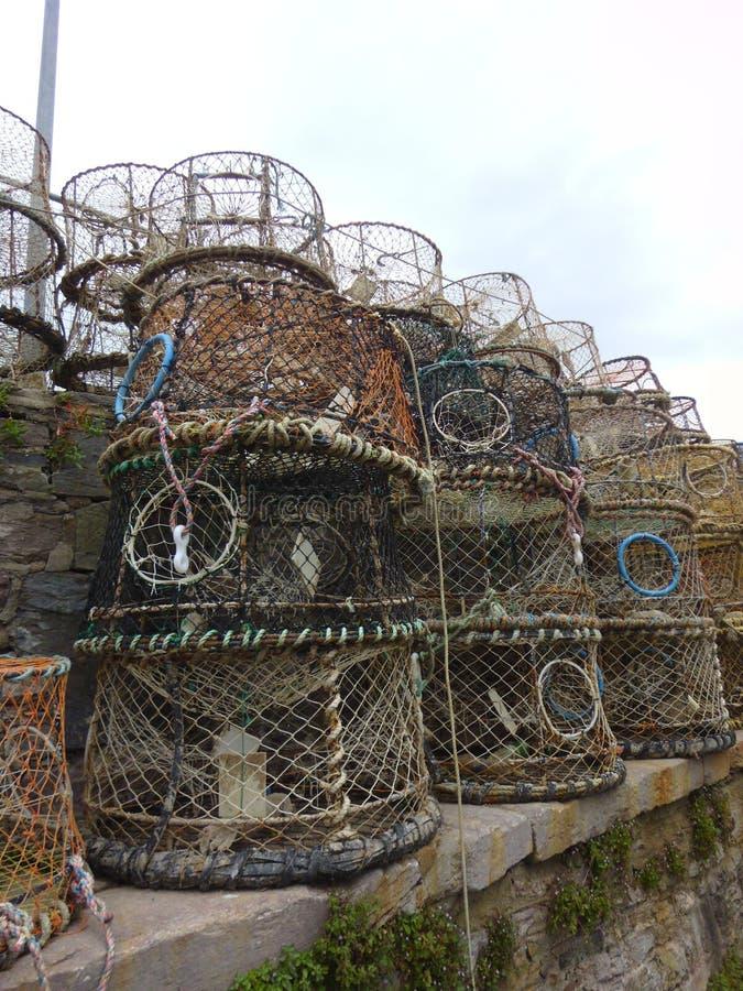 在墙壁上的多个水平堆积的圆柱形螃蟹箱子 免版税库存图片