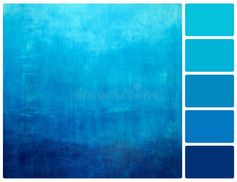 在墙壁上的手拉的蓝色梯度背景有调色板颜色的s 库存图片