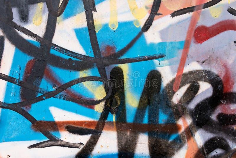 在墙壁上的抽象街道画 免版税库存图片