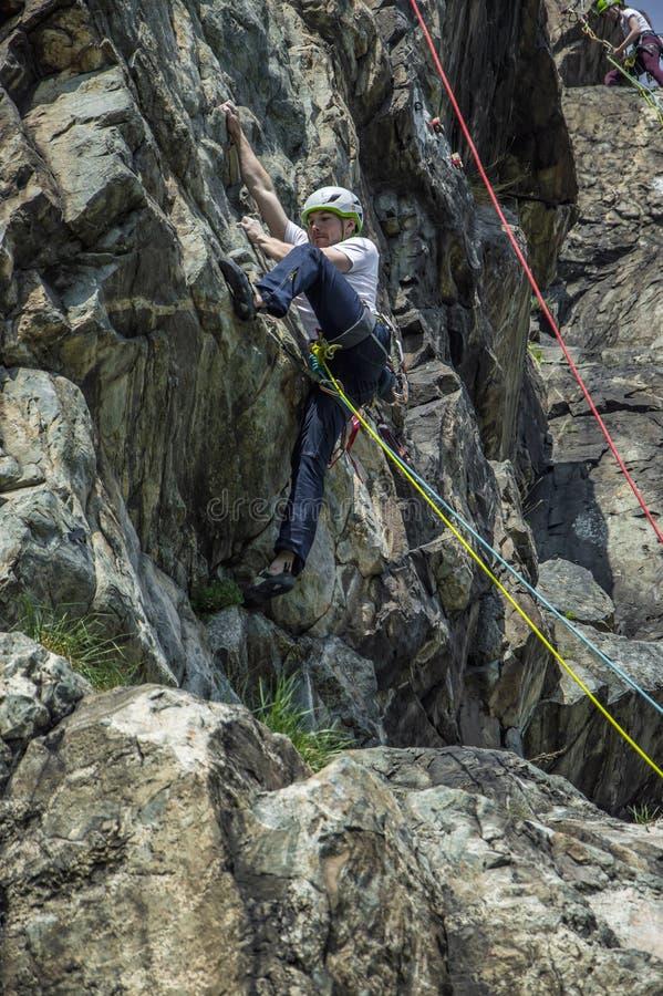 在墙壁上的攀岩运动员 免版税库存图片