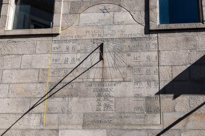 在墙壁上的日规在比戈,西班牙 免版税库存图片