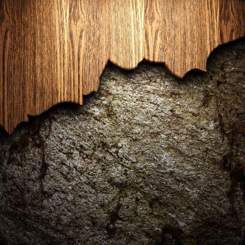 在墙壁上的木头 皇族释放例证