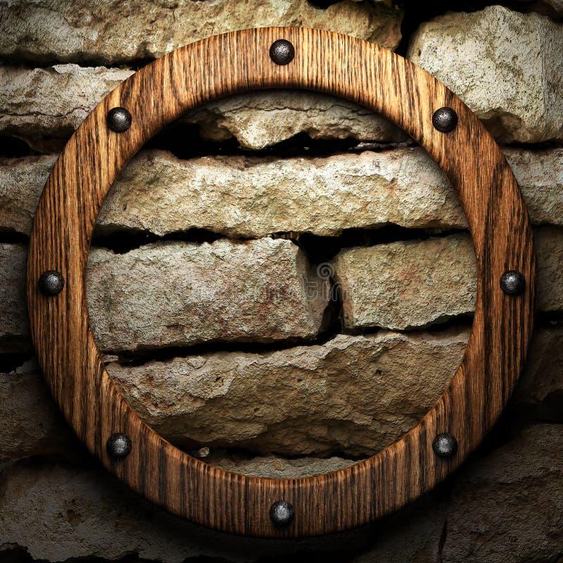 在墙壁上的木头 向量例证