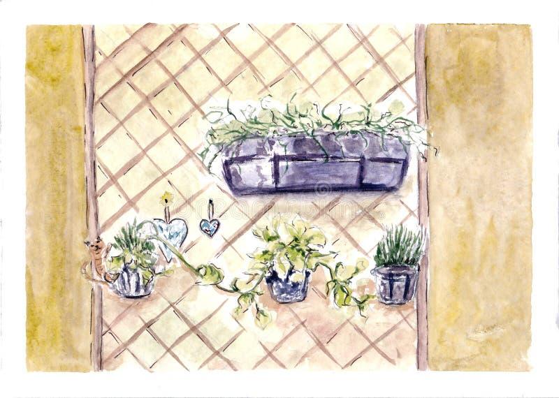 在墙壁上的植物 额嘴装饰飞行例证图象其纸部分燕子水彩 家或咖啡馆室内设计 庭院夏天 例证百合红色样式葡萄酒 手拉的草图 皇族释放例证