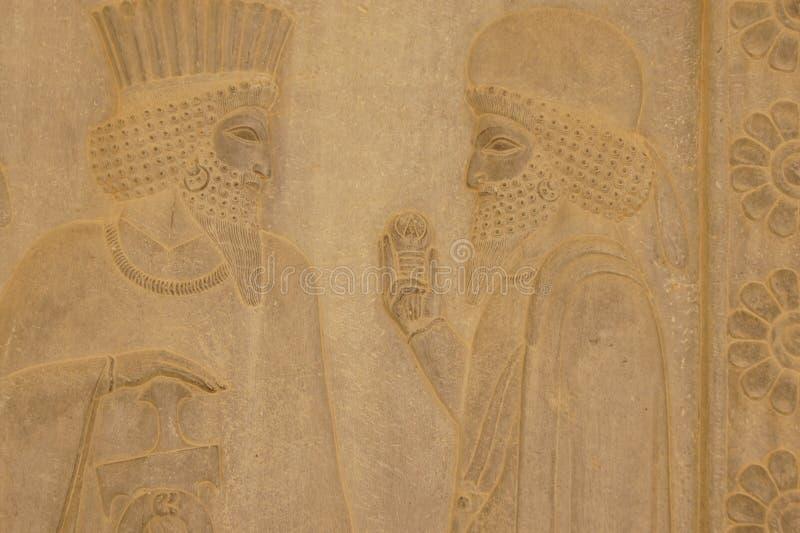 在墙壁上的浅浮雕,伊朗 库存图片